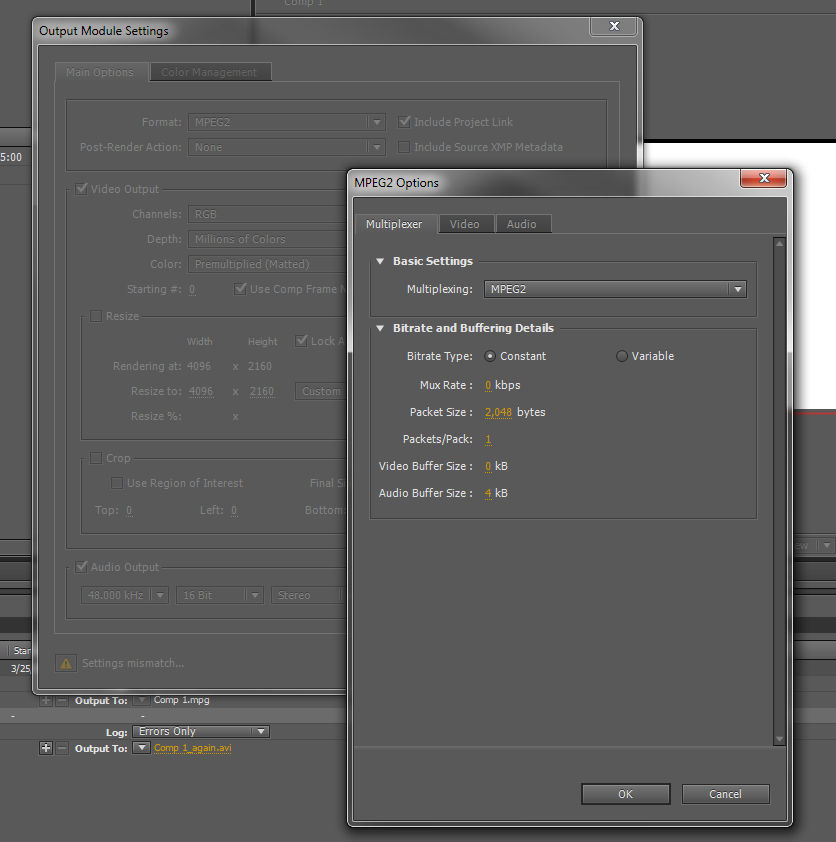 After Effects Audio Multiplexing